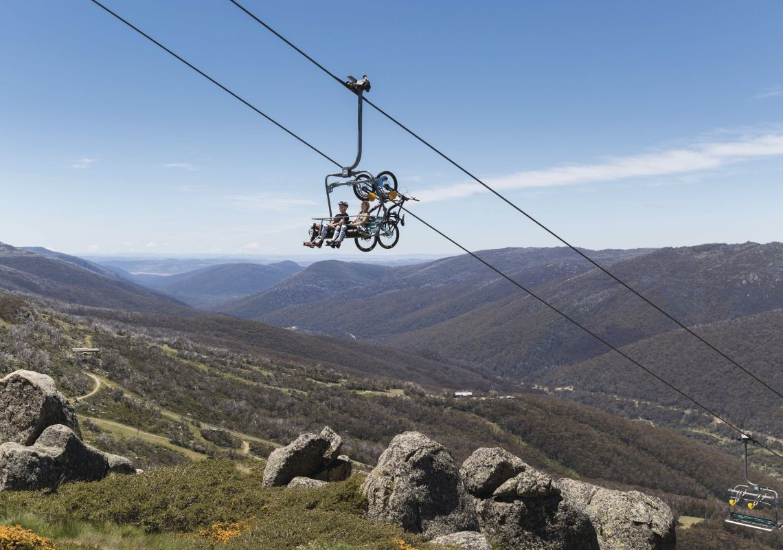 Chairlift to the top of the Thredbo Valley Track with scenic views over Kosciuszko National Park