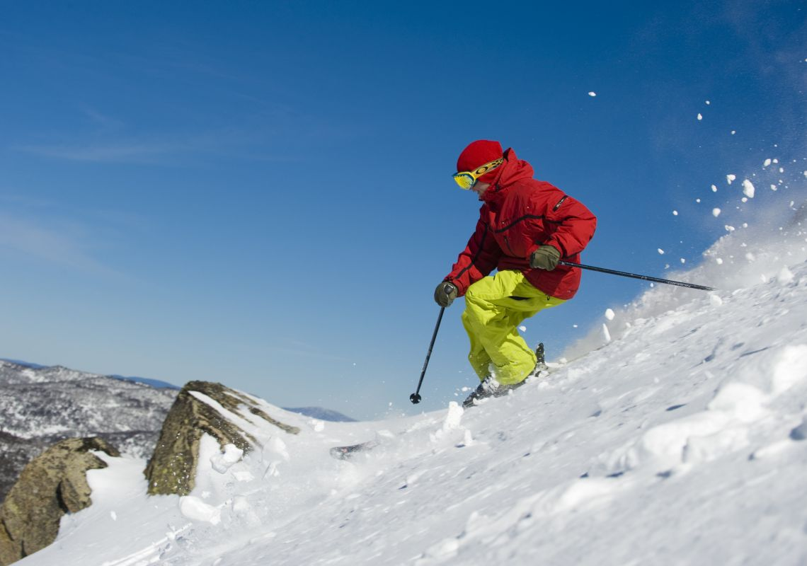 Man skiing on the Thredbo slopes in the NSW Snowy Mountains