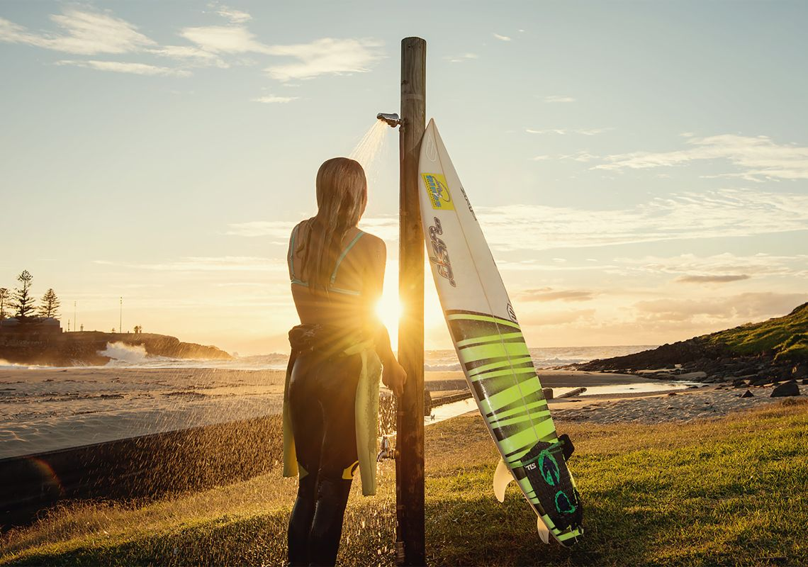 Surfing at sunrise in Kiama on the NSW South Coast
