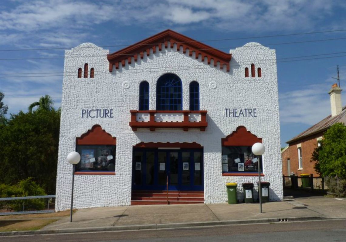 Spanish Mission-style façade of James Theatre in Dungog, Barrington Tops, Australia
