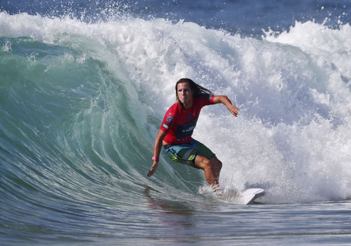 Pro surfer Darcy Crump competes in a Surfest event at Merewether Beach, Newcastle, Australia