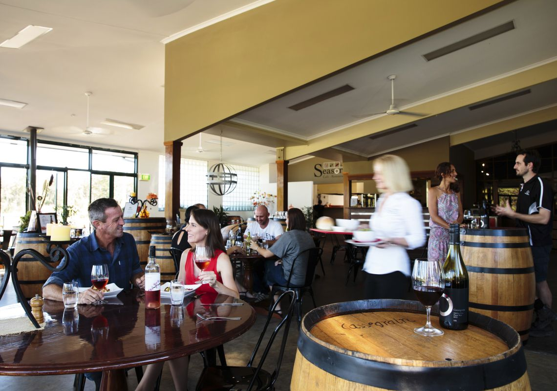 Diners enjoying lunch at Cassegrain Wines, Port Macquarie.