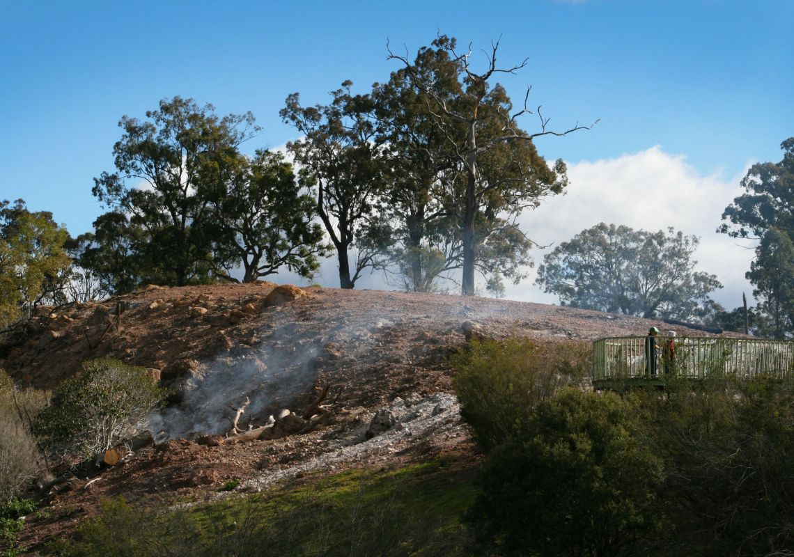 Smoke drifting over Burning Mountain Nature Reserve near Scone