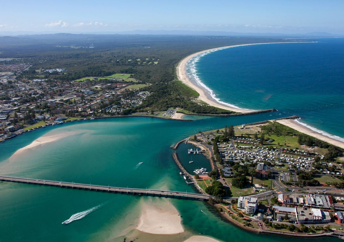 Aerial view of the beautiful Forster-Tuncurry coastline on the NSW North Coast.