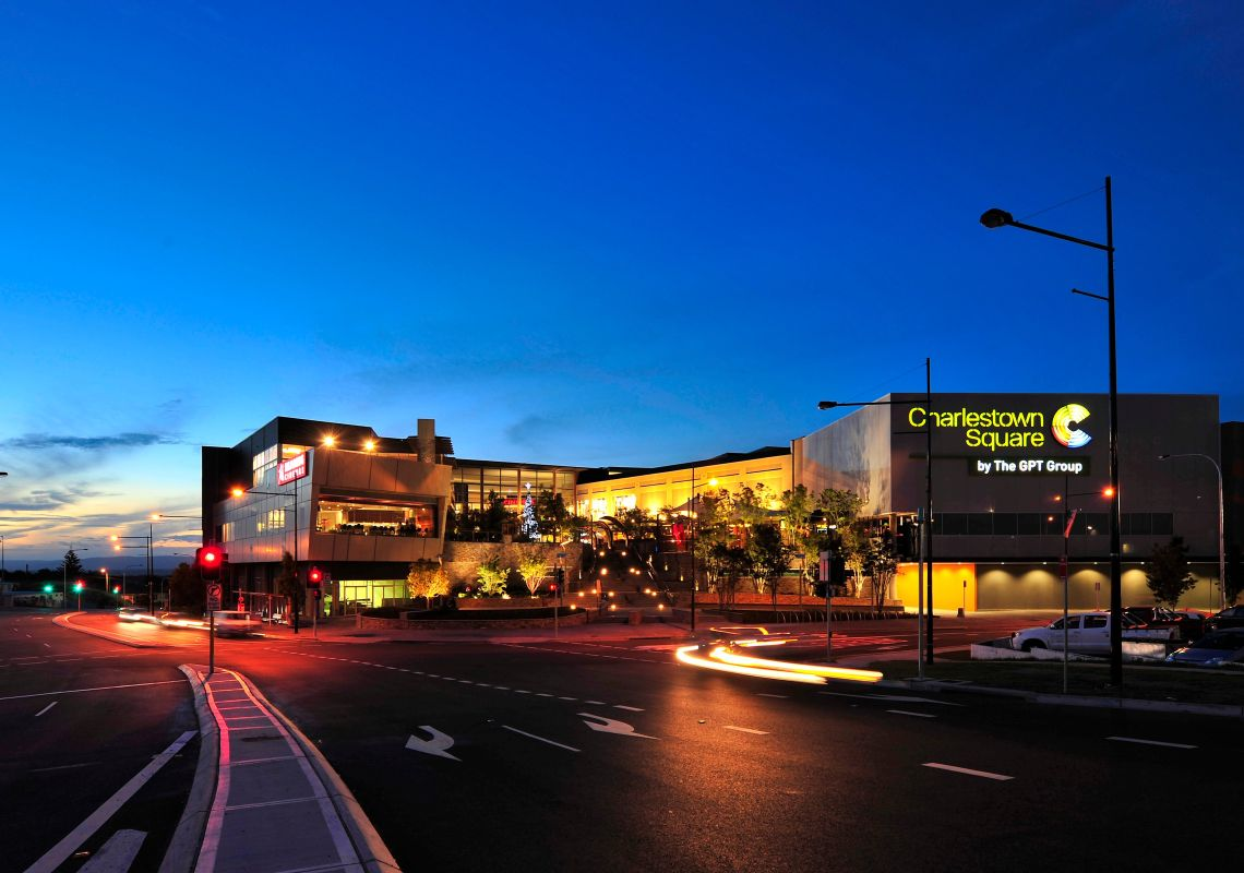 Street view of Charlestown Square shopping centre at dusk, Lake Macquarie