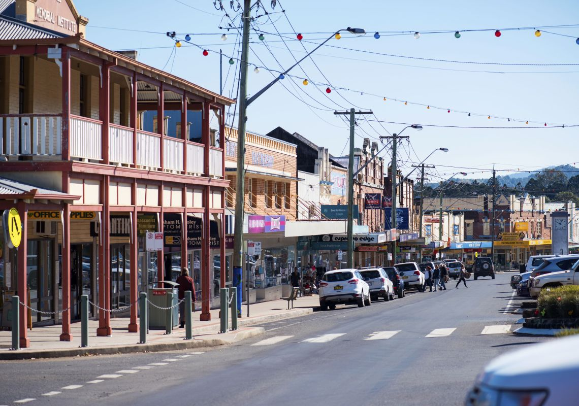 Summerland Way is the charming main street in Kyogle, NSW