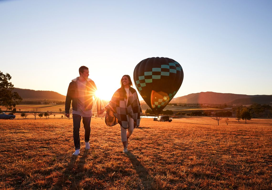 Hot air ballooning at sunrise in the Hunter Valley