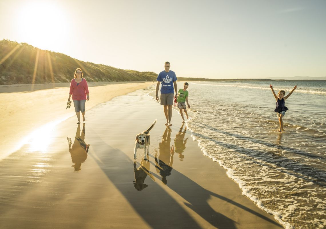 Family walks with their dog along Currarong Beach in Shoalhaven