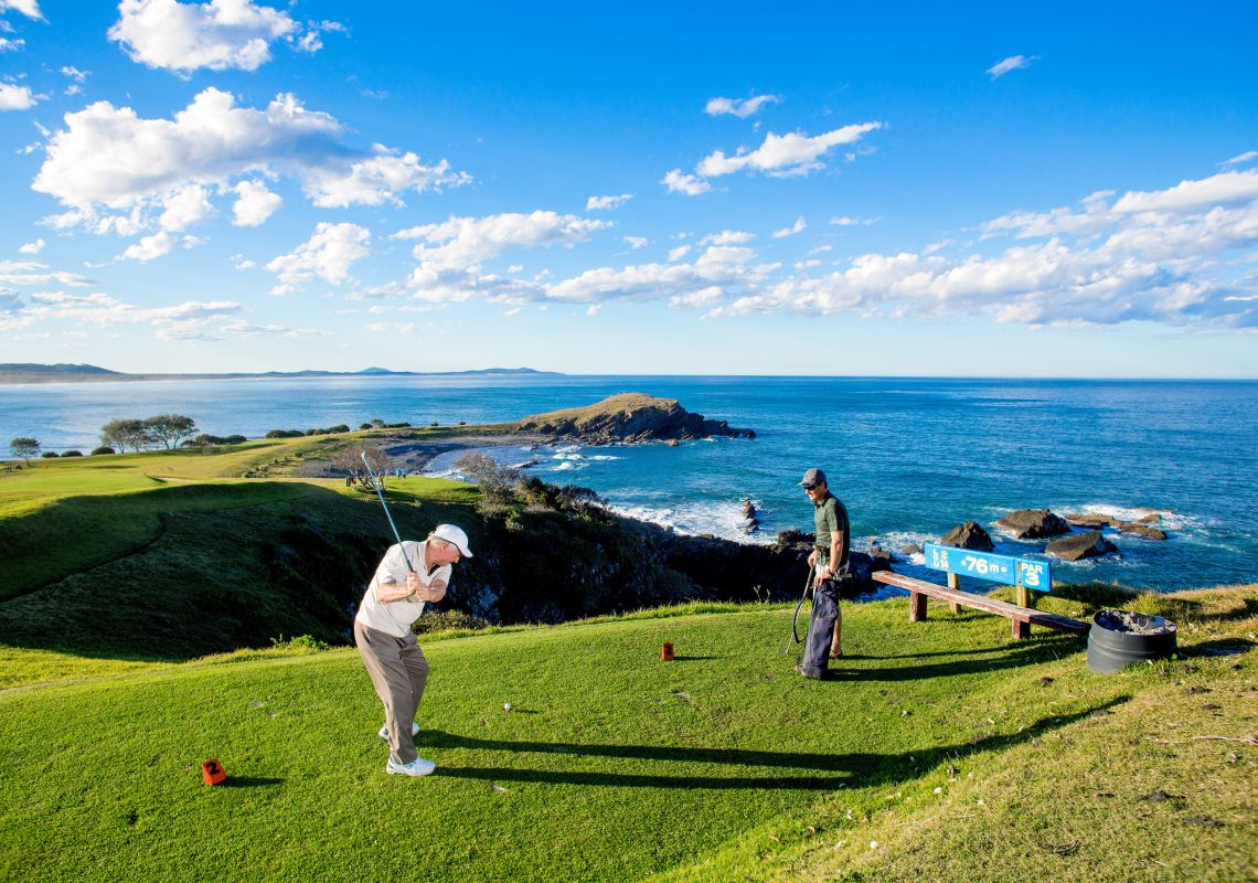 Two men enjoying golf at Crescent Head Country Club, Macleay Valley Coast.