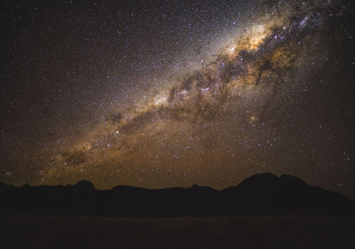 The Milky Way galaxy shining brightly, Warrumbungle National Park, NSW