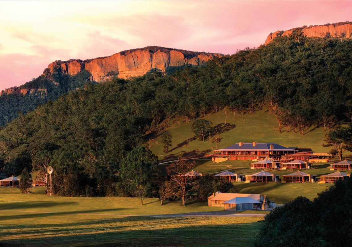 Sun setting over Emirates One&Only Wolgan Valley, Blue Mountains