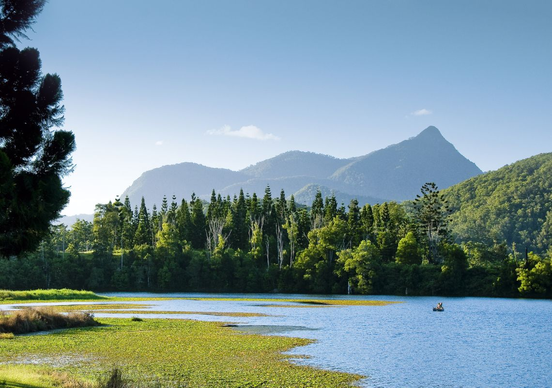 View of the Wollumbin peak from Clarrie Hall Dam, Tweed hinterland