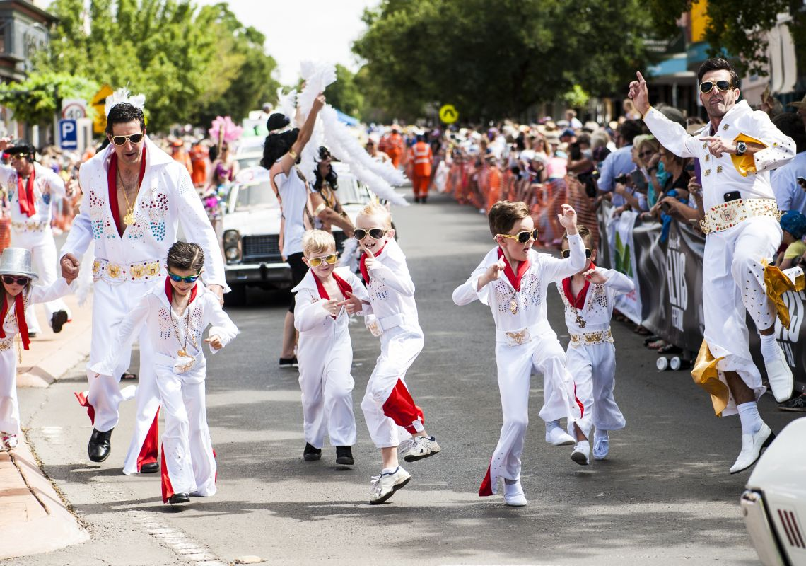 Dancing Elvis impersonators at the fabulous Parkes Elvis Festival, Australia
