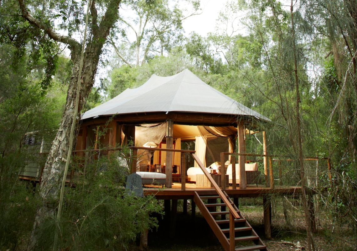 A Paperback Camp safari tent in tranquil bushland, Jervis Bay