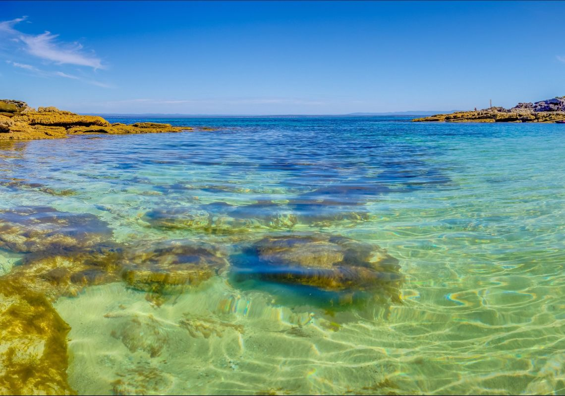 The crystal-clear waters of Honeymoon Bay, in Jervis Bay