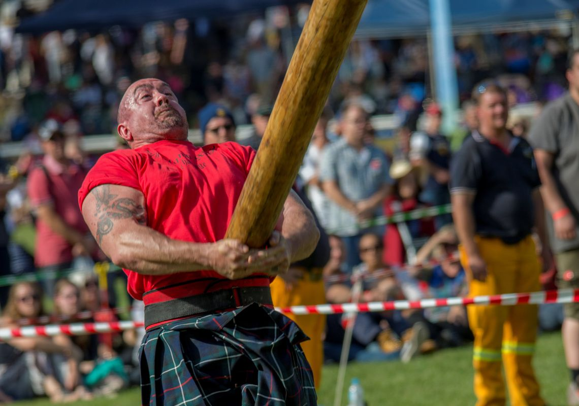 Caber tossing at the Bundanoon Highland Gathering Festival, Southern Highlands
