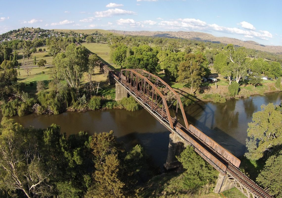 Historic railway bridge over the Murrumbidgee River, Gundagai, NSW