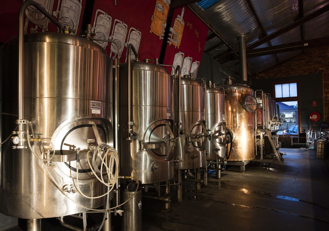 Mash tun's involved in the production of local boutique beer at Mudgee Brewing Co.