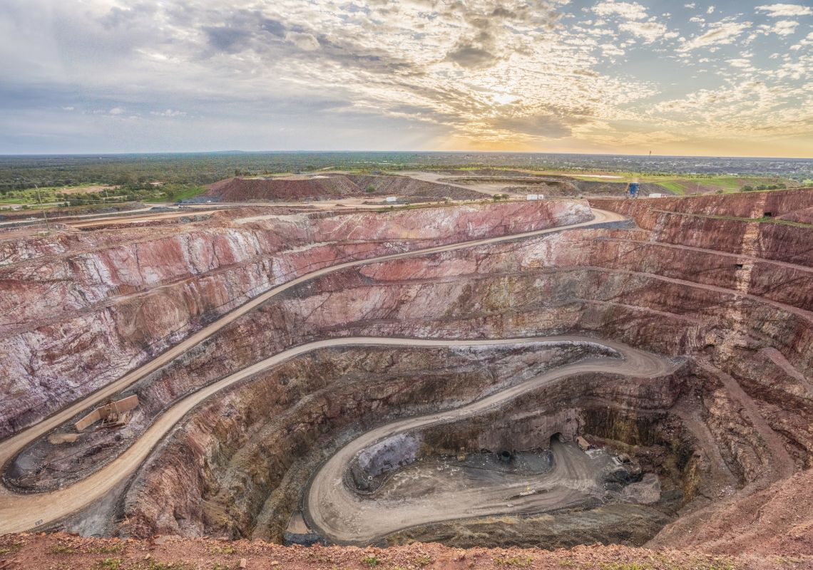 Views over the open cut mine from the Fort Bourke Hill Lookout in Cobar