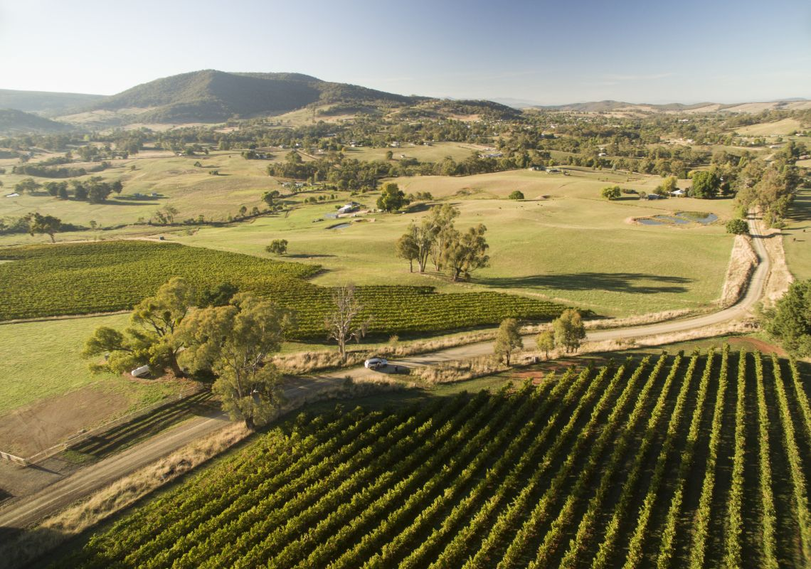 Scenic aerial views overlooking vineyards of Tumbarumba in the Snowy Valleys region