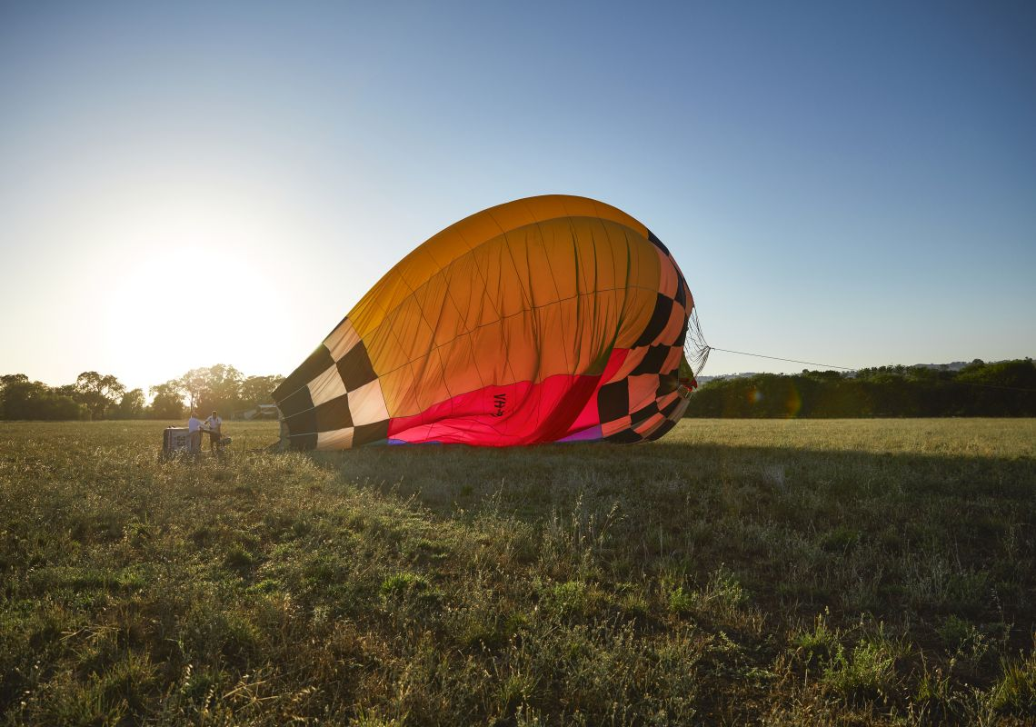Hot Air Balloon still on the ground for the Canowindra hot air balloon festival near Orange, NSW