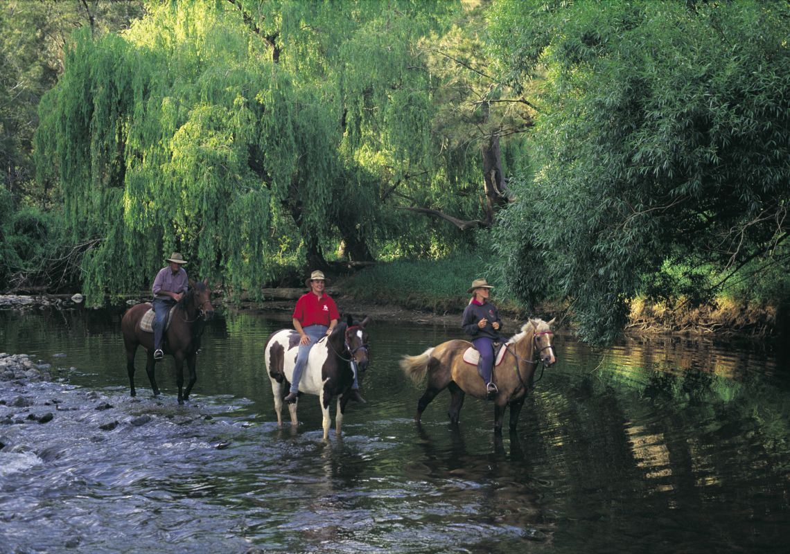 Three people horseriding at a homestead in Millamolong, Central NSW
