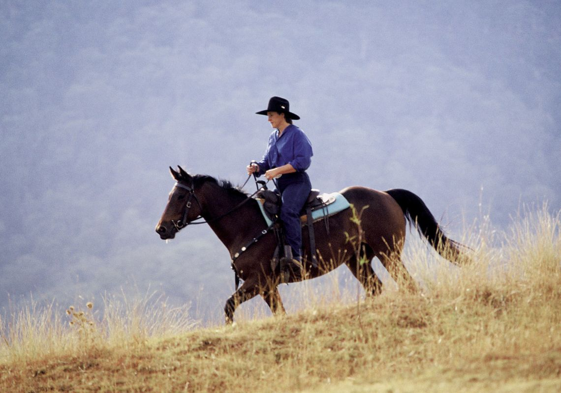 Lone person wearing an akubra hat horseriding, Scone, Upper Hunter