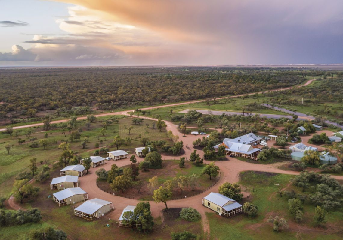 An aerial view of Mungo Lodge, Mungo National Park