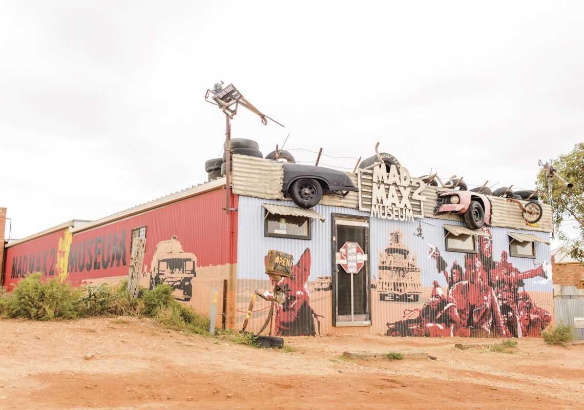 The Mad Max Museum in Silverton is painted with scenes from the famous movie