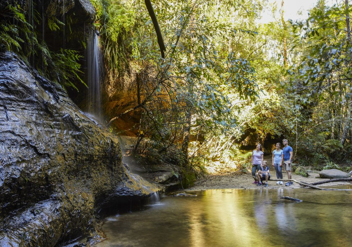 Family enjoying the scenery along the South Lawson Waterfall Circuit in the Blue Mountains