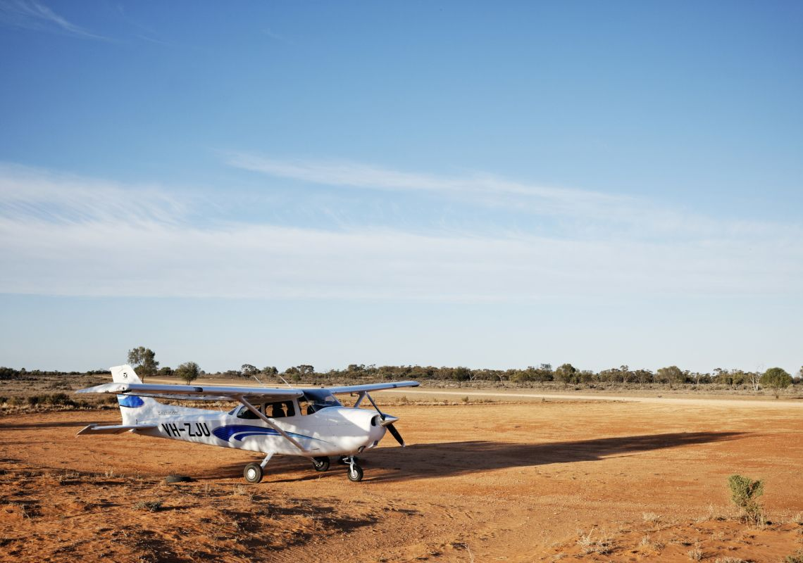 A small charter plane readies to take off in Mungo National Park