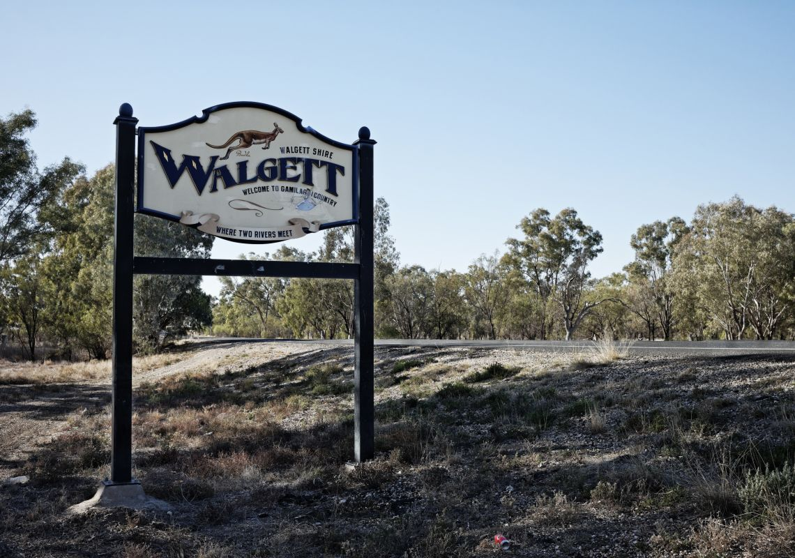 A sign welcoming visitors to Walgett