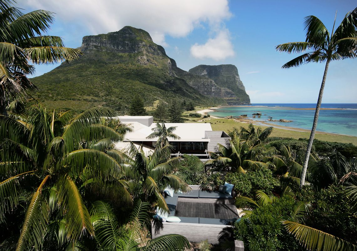 Capella Lodge with scenic ocean views of Mount Gower, Lord Howe Island