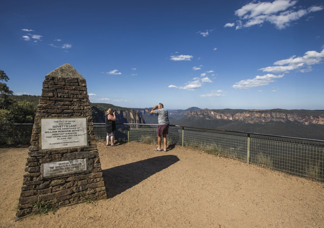 Tourists enjoying the views across the Grose Valley at Govetts Leap Lookout, Blackheath
