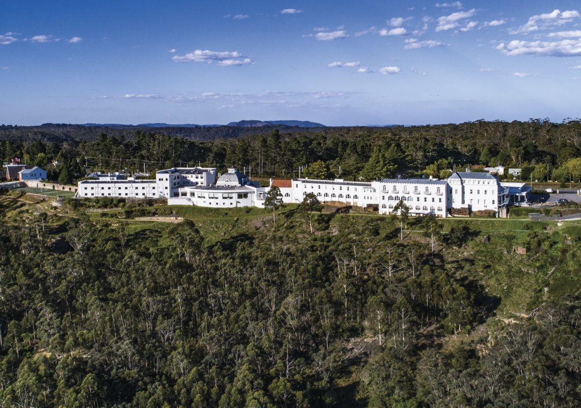 Aerial view of the Hydro Majestic Hotel, Medlow Bath in the Blue Mountains
