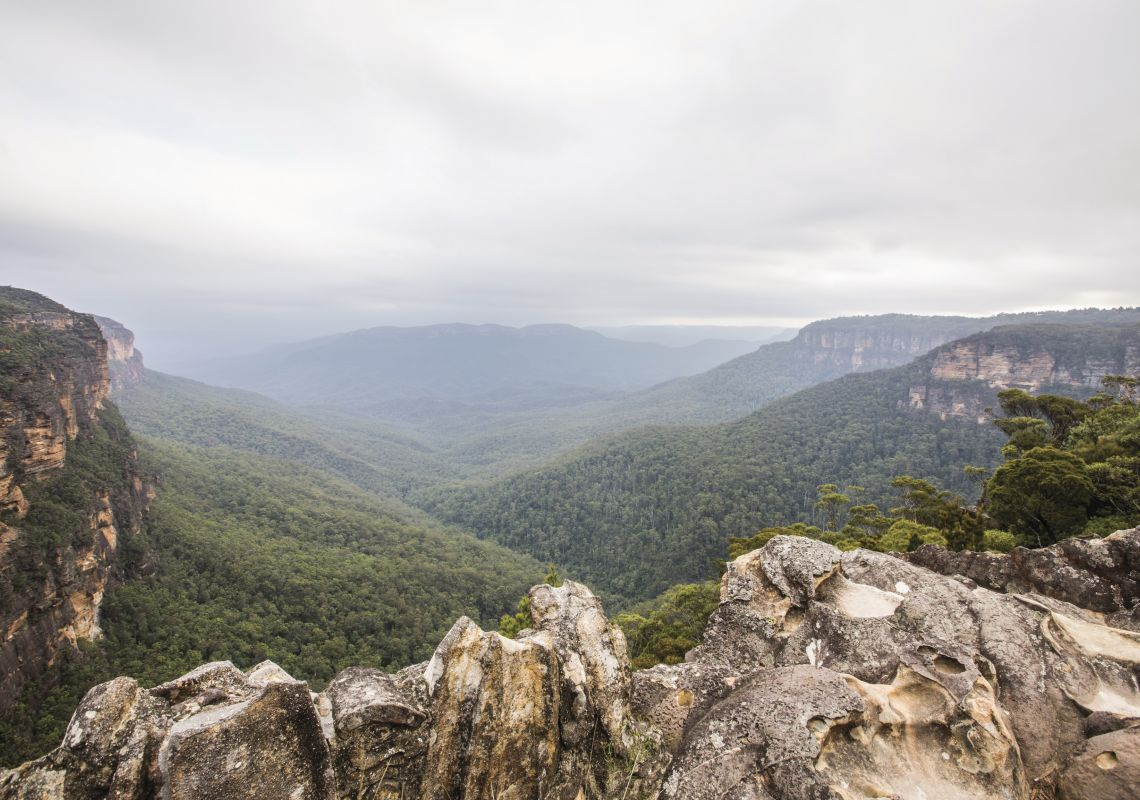 Scenic views of the Jamison Valley and Blue Mountains National Park from Wentworth Falls