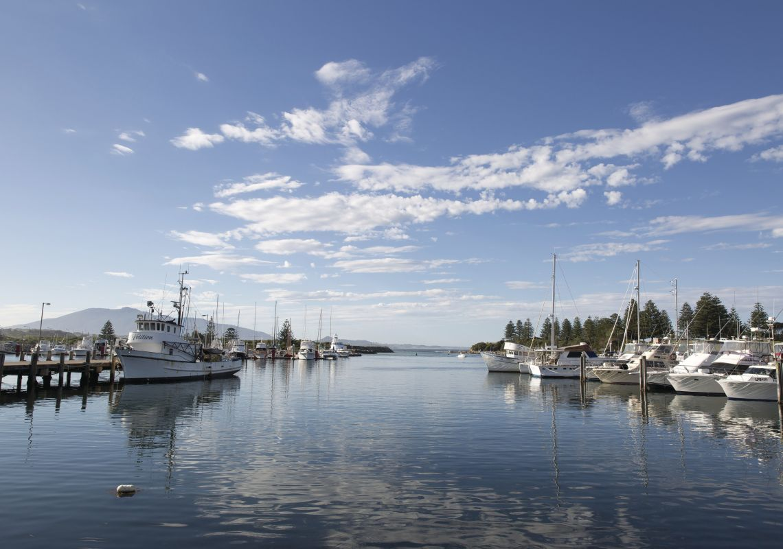 Local fishing boats docked at Bermagui Fishermens Wharf, Bermagui