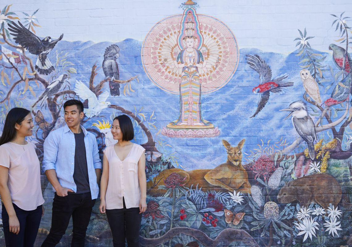 Friends exploring the street art in Katoomba, Blue Mountains