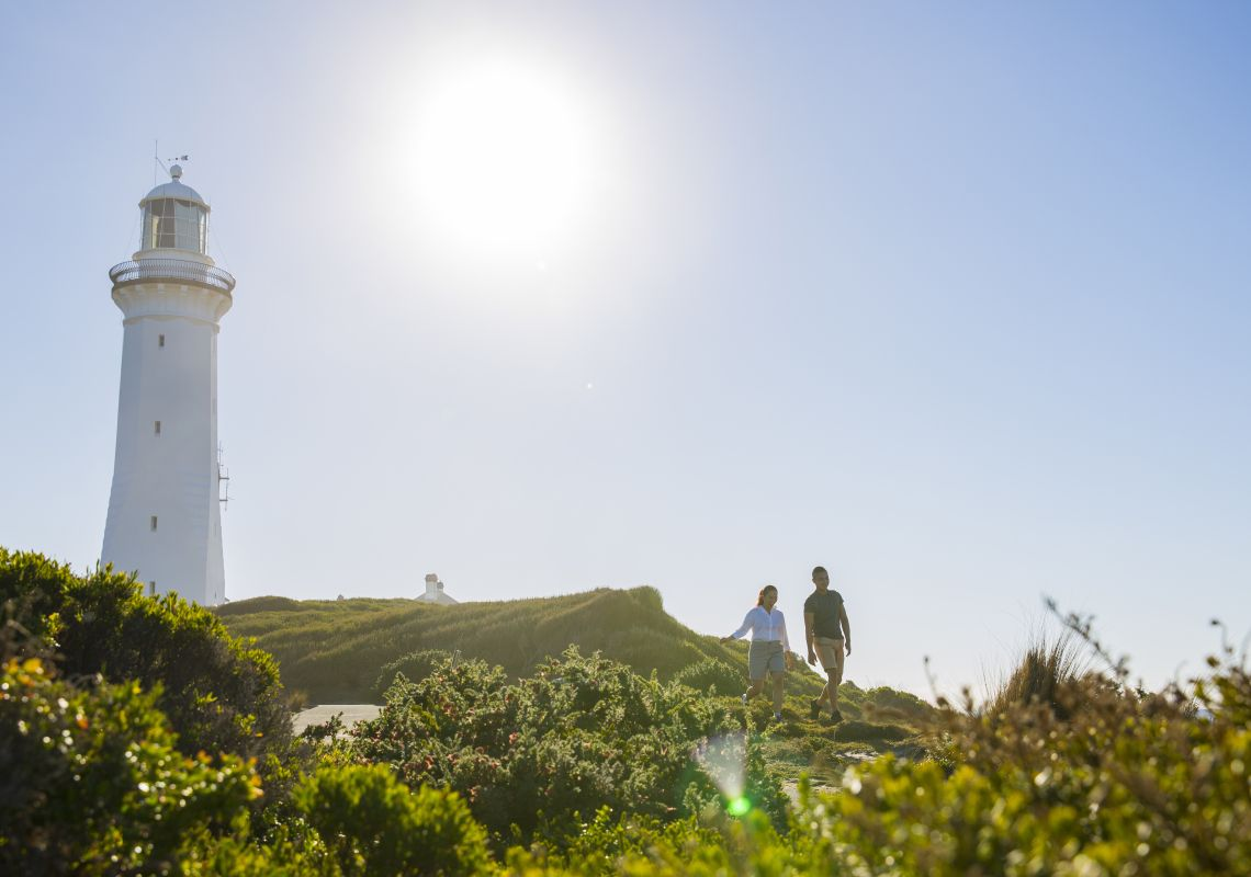 A couple exploring around Green Cape Lighthouse, Ben Boyd National Park