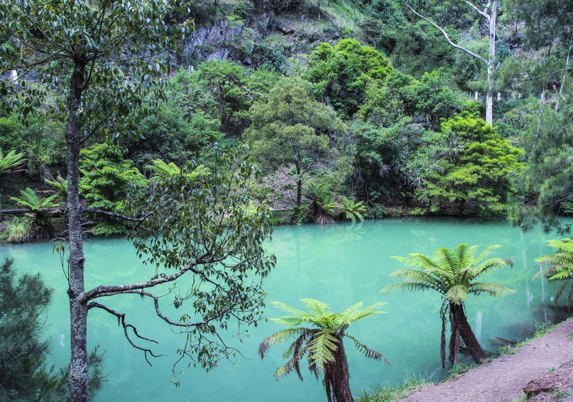 The Blue Lake, Jenolan Caves obtains it's unnatural blue colour from the limestone sediments from the limestone caves.