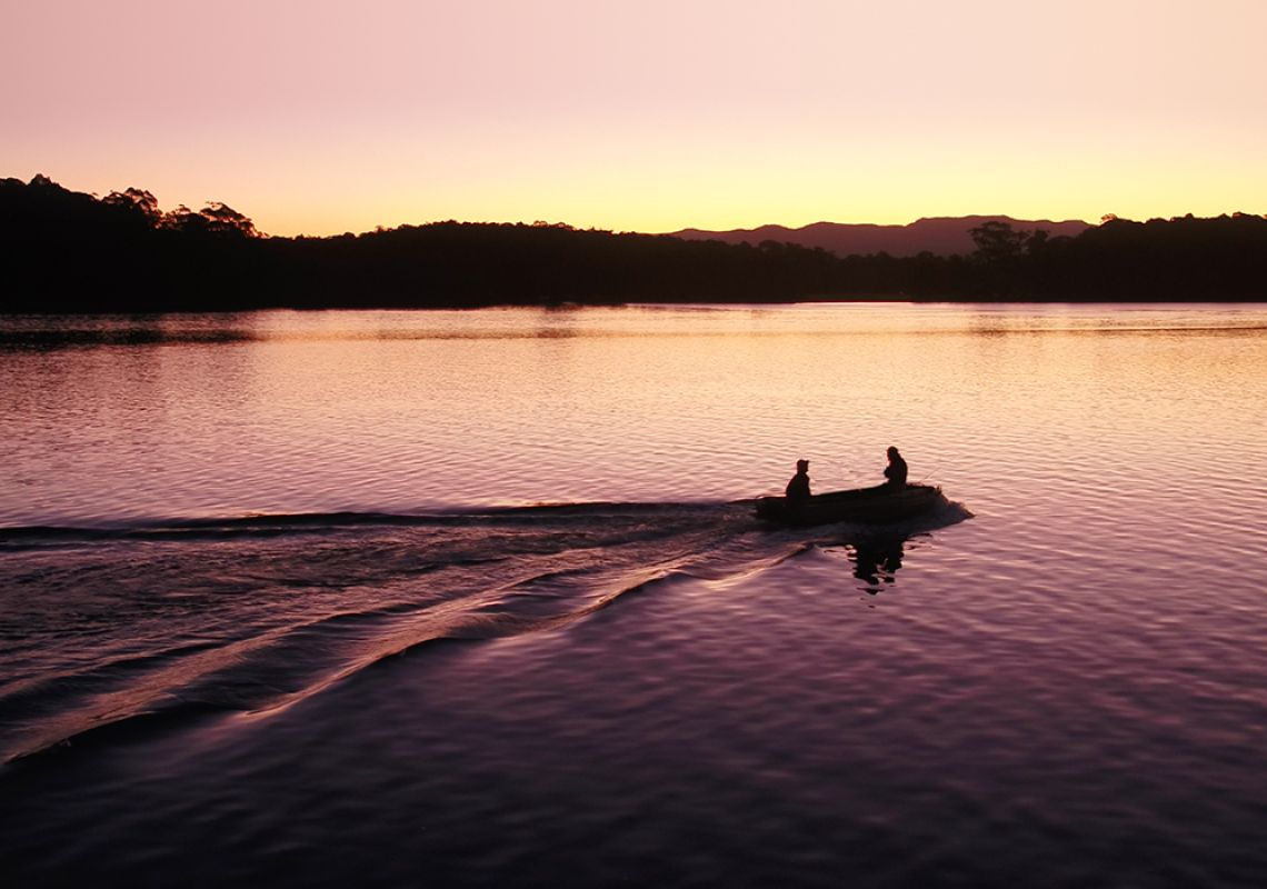 Fishing at Sunset in Tuross Heads in Eurobodalla NSW, South Coast
