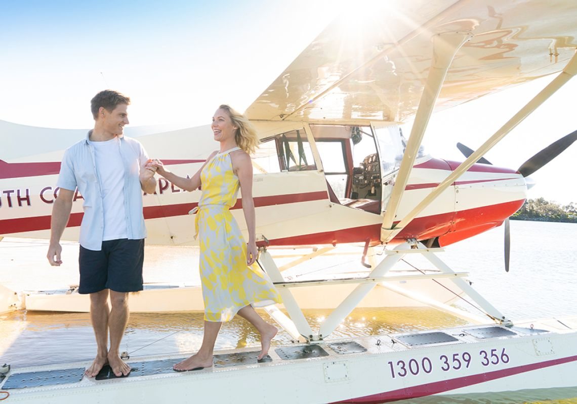 Couple arriving at Moruya Lake with South Coast Seaplanes