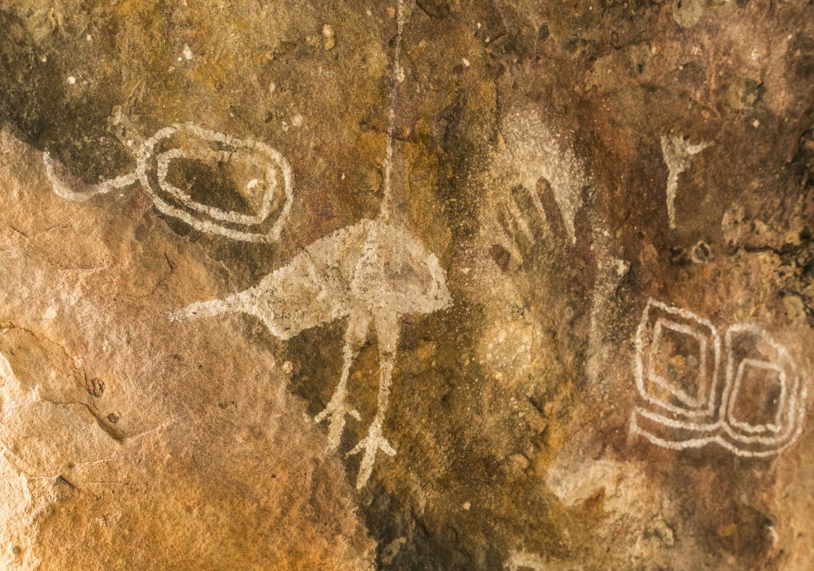 Aboriginal rock art located in Gundabooka National Park, Bourke, Outback