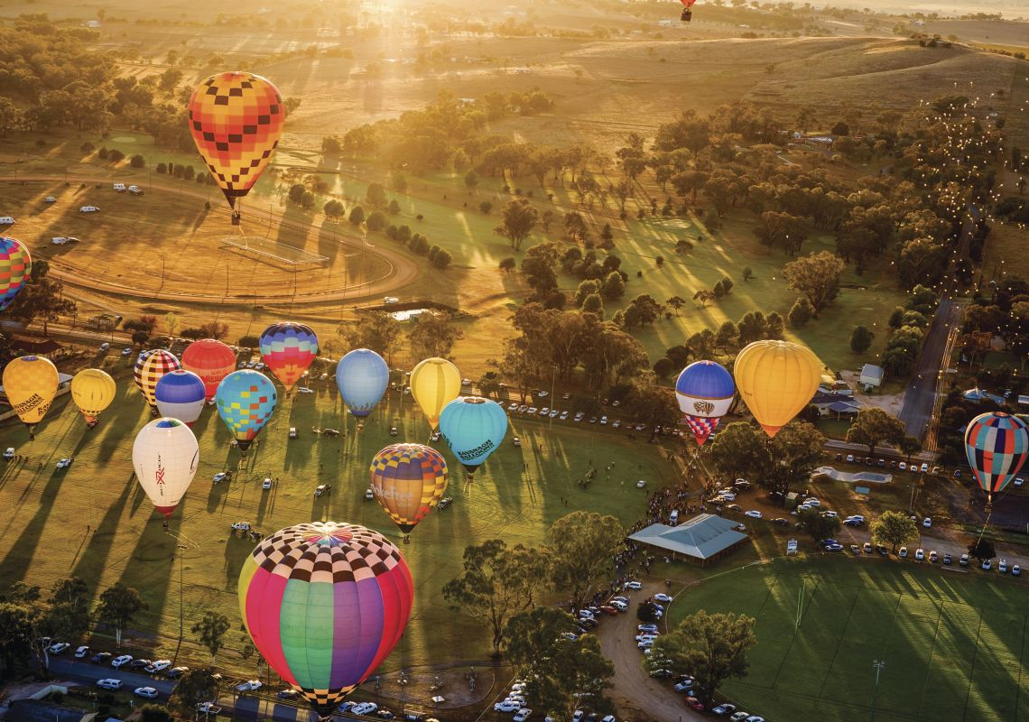 Hot air balloons over the township of Canowindra for the 2015 International Balloon Challenge