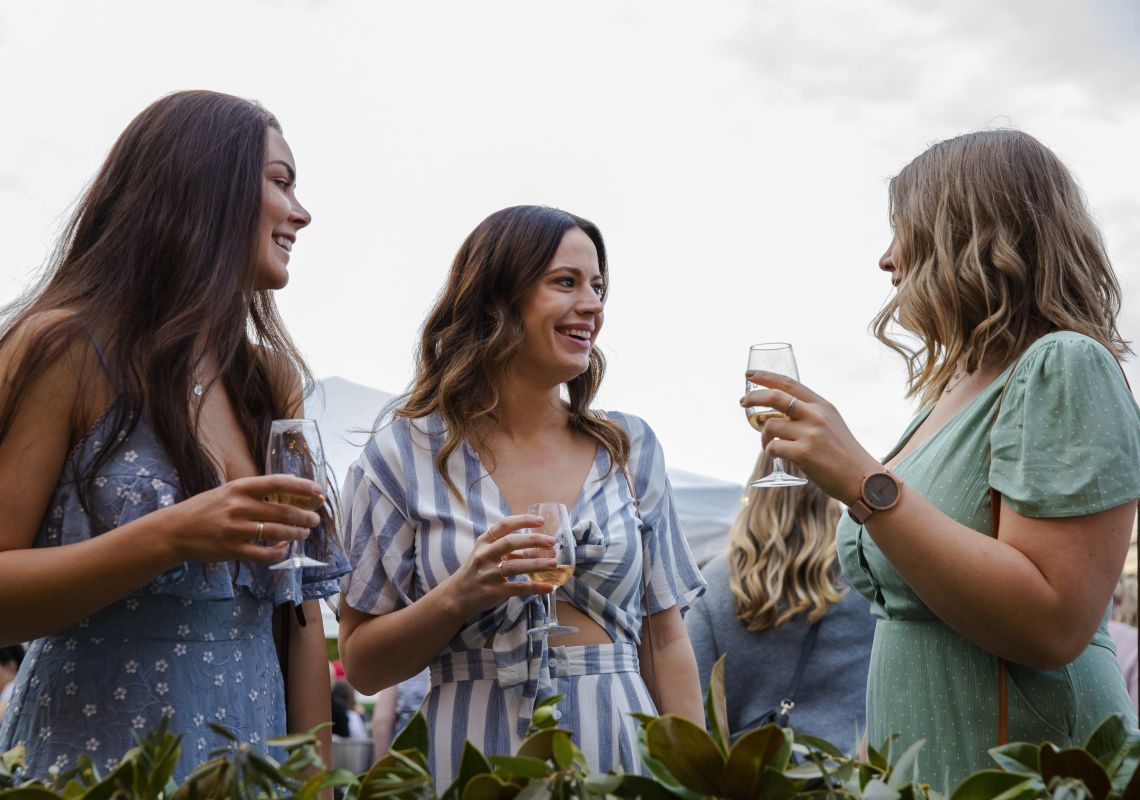 Women enjoying local wines at the 2018 Mudgee Food and Wine Festival