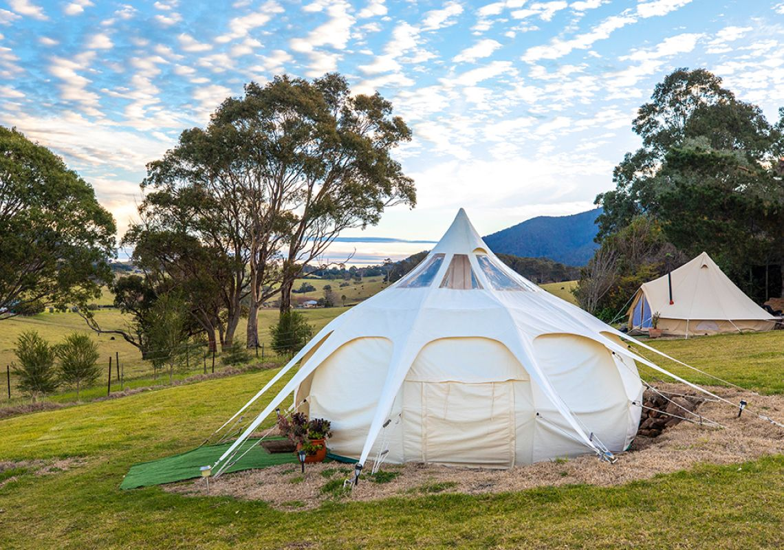Glamping tents at Tilba Lake House in Central Tilba