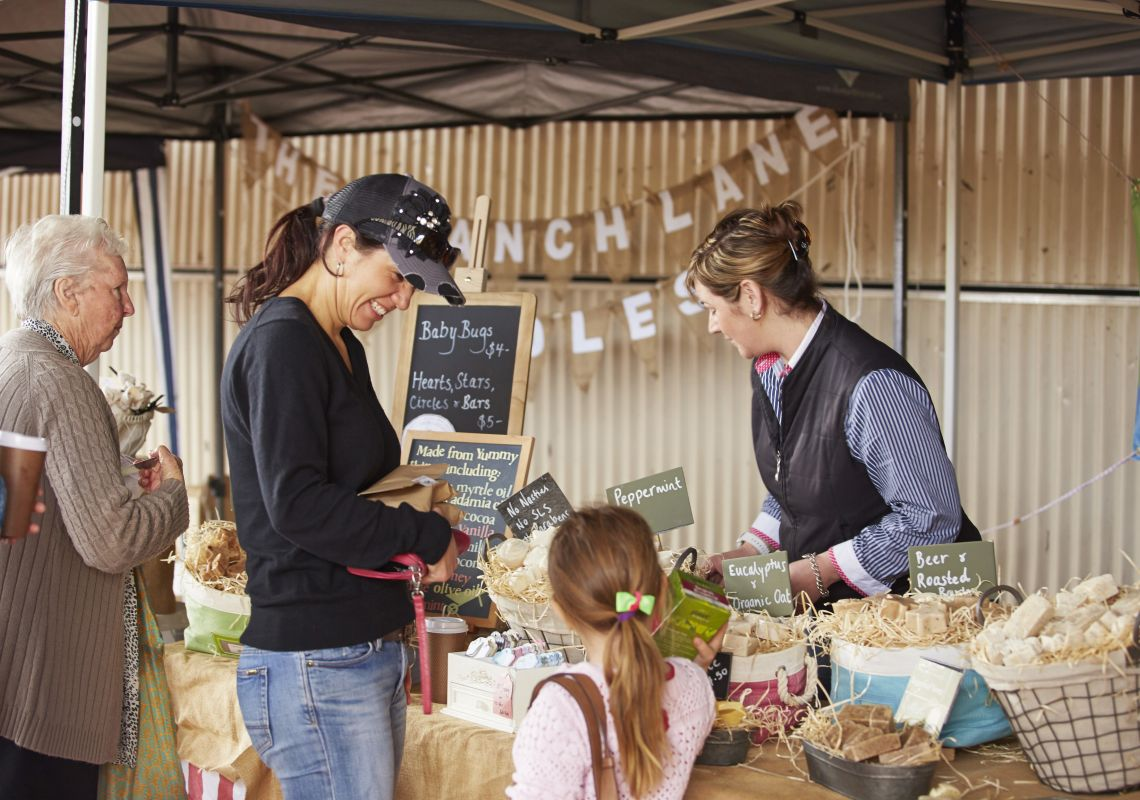 Local produce stall for the Farmers Market at The Dungog Festival, Dungog