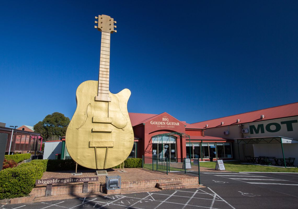 The Big Golden Guitar Tourist Centre in Tamworth, Country NSW