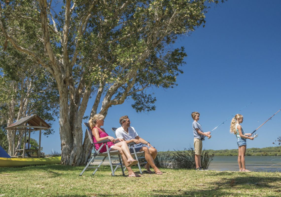 Children fishing at their campsite at BIG4 Koala Shores Port Stephens Holiday Park