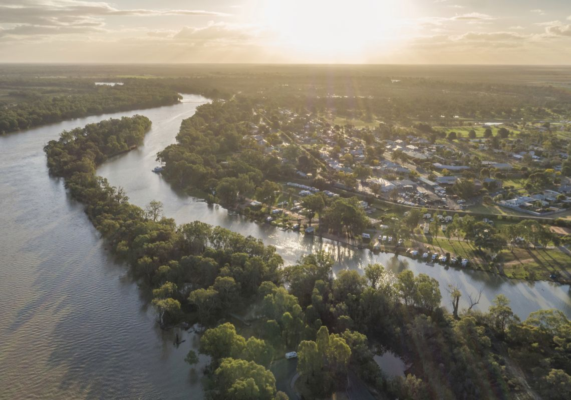 Scenic aerial overlooking the junction of the Darling River and the Murray River, The Murray